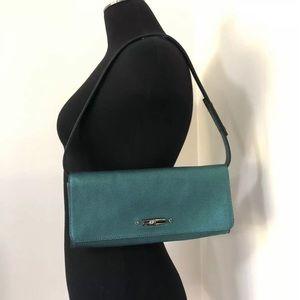 Authentic Longchamp Roseau Teal Party Purse Bag